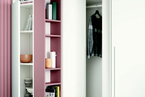 Armario de dormitorio juvenil 12b-0005 color rosa y blanco vista de detalle