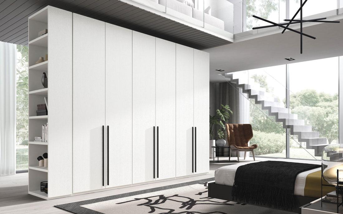 Armario de dormitorio matrimonio con puertas abatibles 11b-0002 en madera blanco con tiradores negros