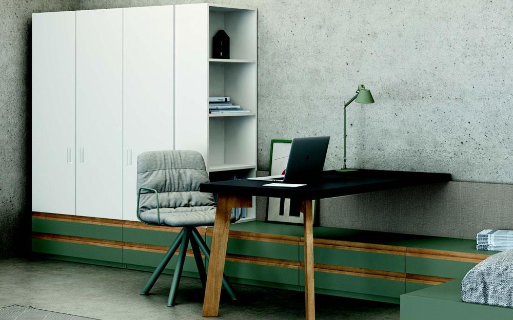Armario y escritorio de dormitorio kids 12c-0008 color blanco y verde vista de detalle