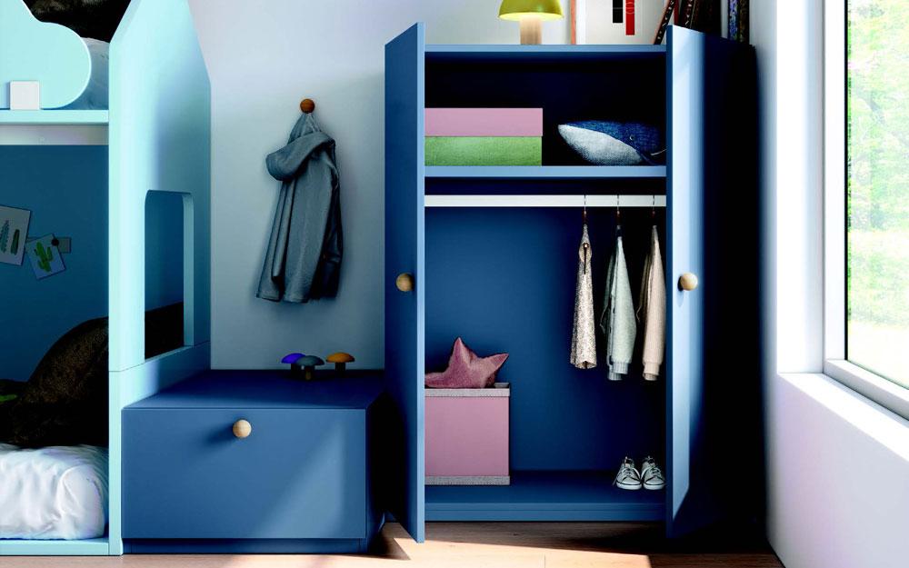 Armario de habitación kids con litera 12e-0009 color azul vista de detalle