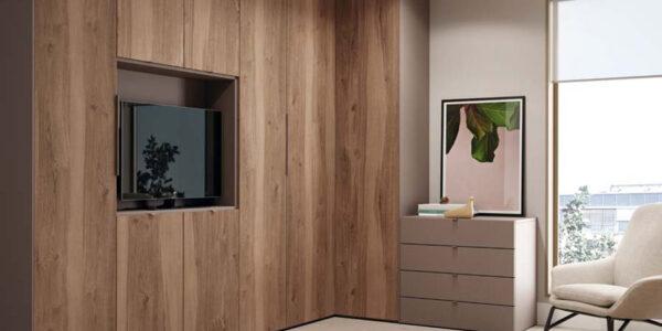 Armario tv de dromitorio juvenil con cama abatible vertical 12d-0012 color madera vista de detalle