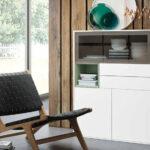 Mueble auxiliar buffet 13c-0004 color blanco con cristal fumé y verde vista general