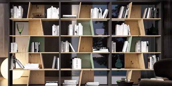 Mueble auxiliar librería 13c-0008 combinado madera negro y verde vista frontal