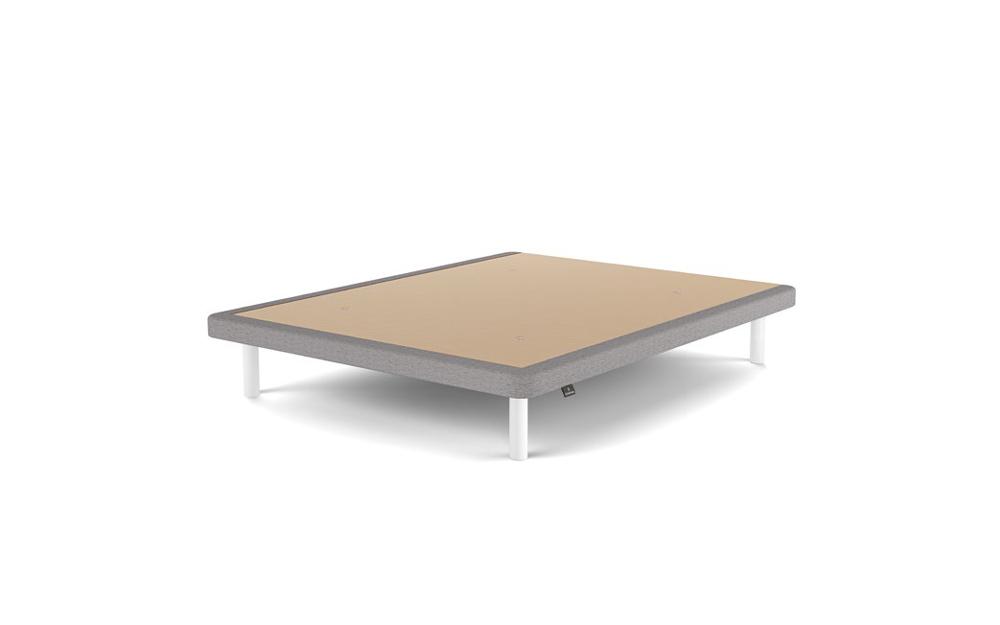 base fija de cama 16b-0009 con tapizado gris y beige vista tecnica