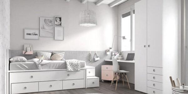 Bicama de dormitorio infantil 12b-0003 color blanco y rosa vista frontal
