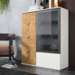 Buffet vitrina auxiliar 13c-0006 combinado madera blanco y cristal fumé vista completa