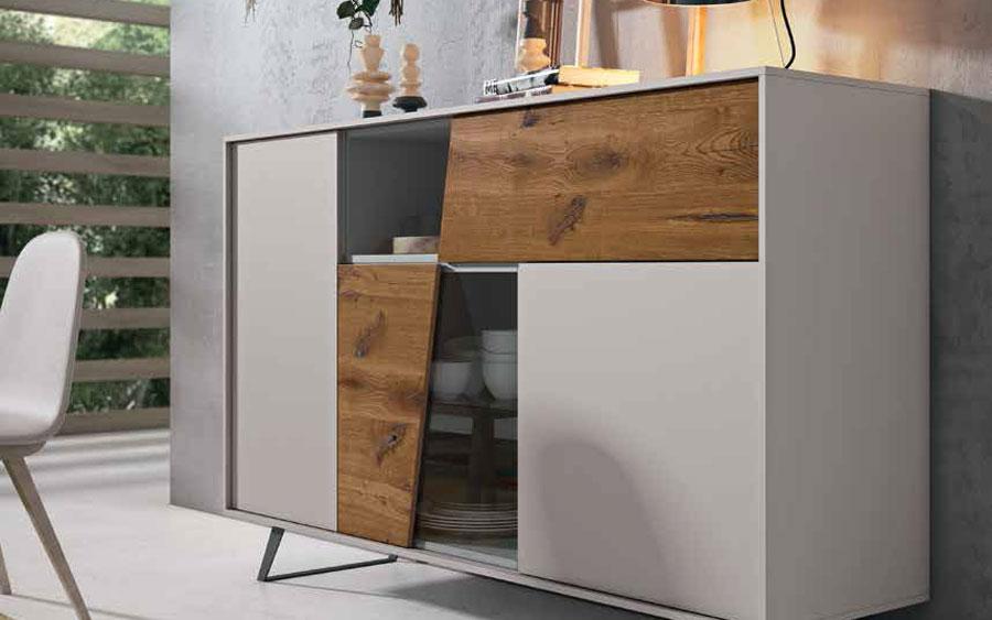 Mueble auxiliar buffet 13c-0007 combinado madera y beige vista general