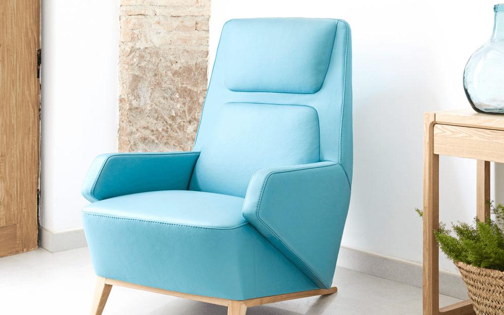 Butaca fija 10a-0004 color azul vista ambiente