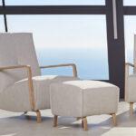 Butaca y puf 10a-0005 color beige vista ambiente de colección