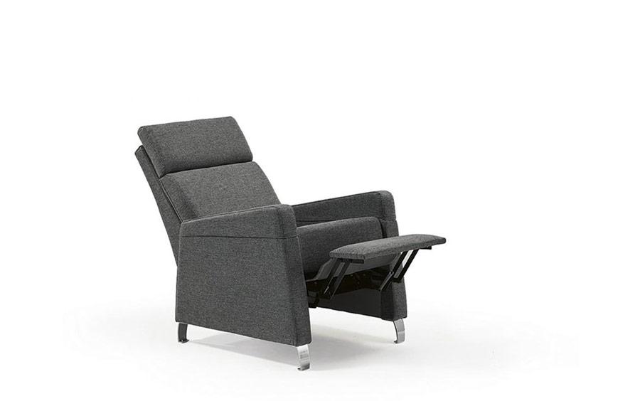Butaca relax 10f-0004 color gris vista detalle de mecanismo relax posición 2