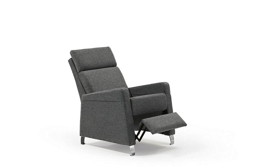 Butaca relax 10f-0004 color gris vista detalle de mecanismo relax posición 1