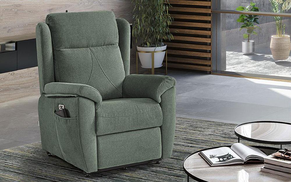 Butaca relax 10f-0006 color verde vista ambiente