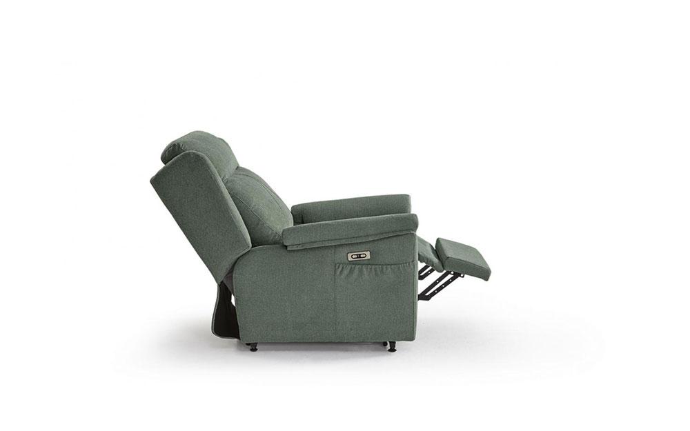 Butaca relax 10f-0006 color verde vista técnica lateral