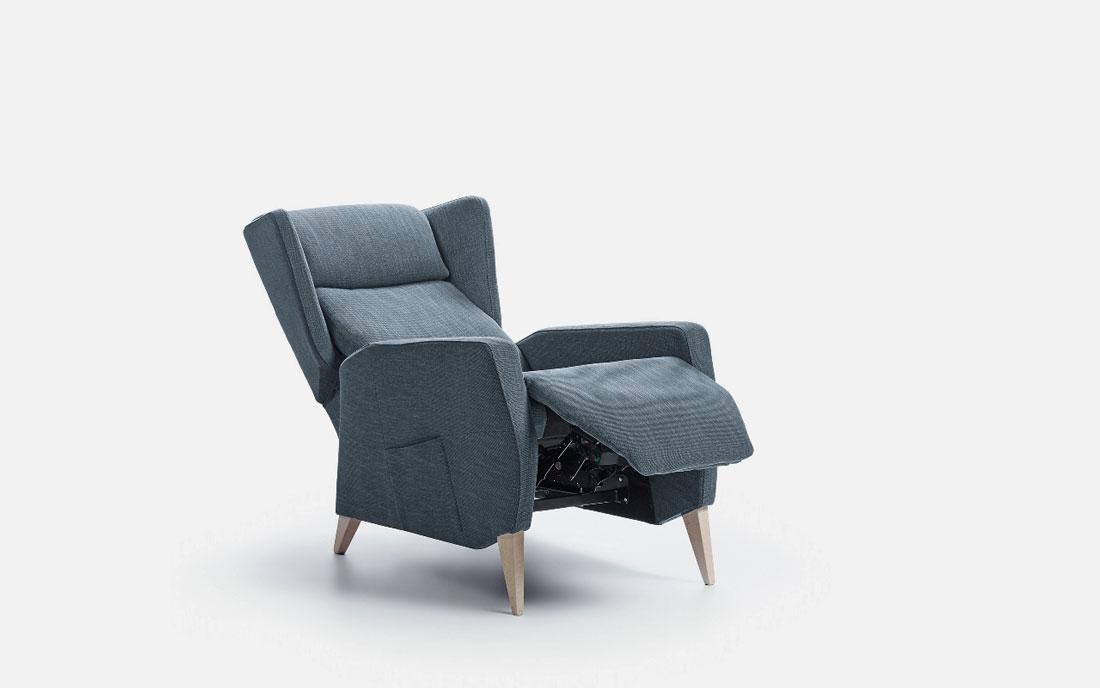 Butaca relax 10f-0008 color azul vista de detalle posición 2
