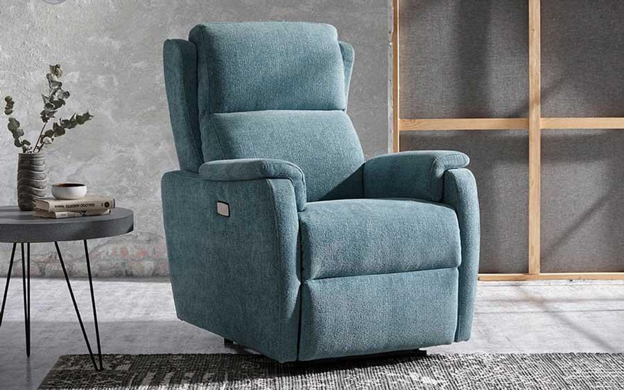 Butaca relax 10f-0011 color azul vista ambiente