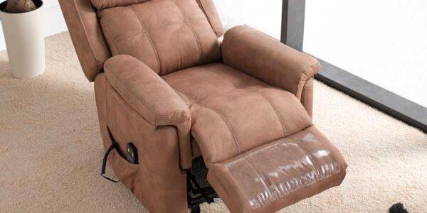 Butaca relax 10f-0012 color marrón vista de detalle abierto