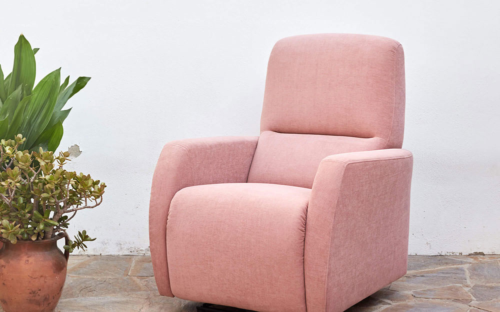 Butaca relax 10f-0013 color rosa vista de ambiente