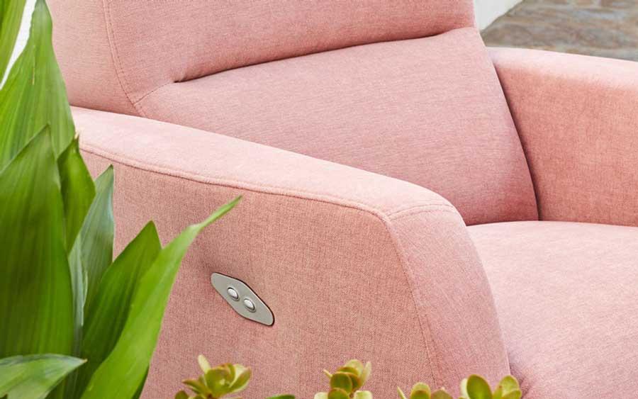 Butaca relax 10f-0013 color rosa vista de detalle del mecanismo