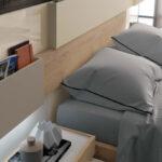 Cabecero de dormitorio de matrimonio 11a-0015 color beige y madera vista de detalle