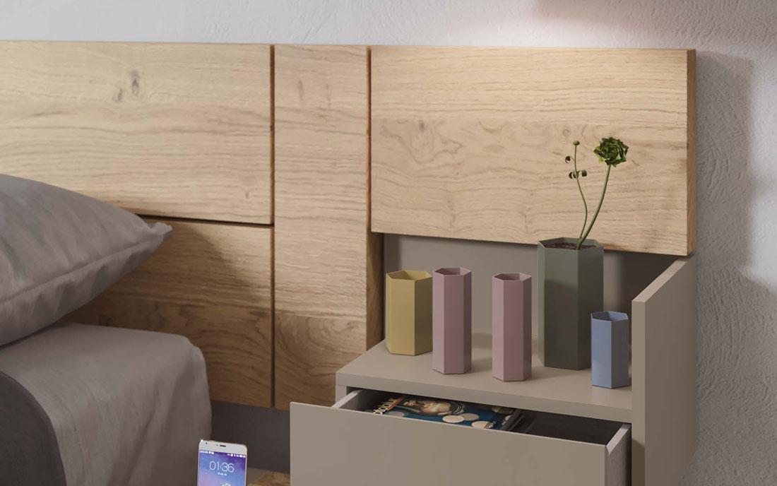 Cabecero y mesilla de dormitorio 11a-0017 color beige y madera vista de detalle