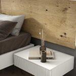 Cabecero de dormitorio de matrimonio 11a-0012 color blanco y madera vista de detalle