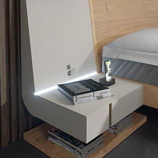 Cabecero de dormitorio de matrimonio 11a-0016 color beige y blanco vista de detalle
