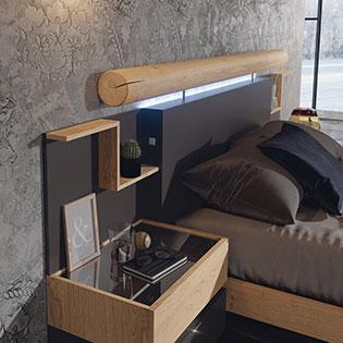 Cabecero y mesilla de dormitorio de matrimonio 11a-0017 color negro y roble vista de detalle