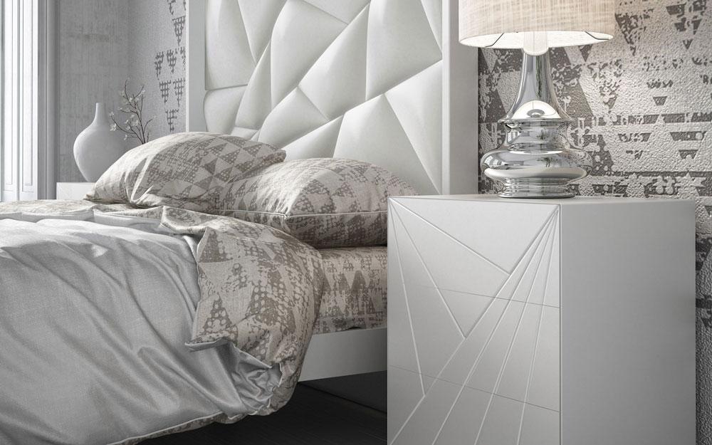 Detalle de cabecero y mesilla de dormitorio 11a-0079 en color blanco con detalles geométricos