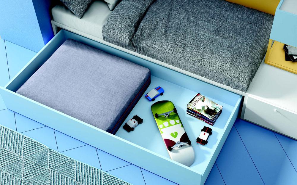 Cajón de dormitorio kids con cama bloc 12c-0007 color azul y mostaza vista de detalle