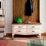 Cajones de recibidor-percha 13c-0011 madera veteada natural y beige vista de detalle