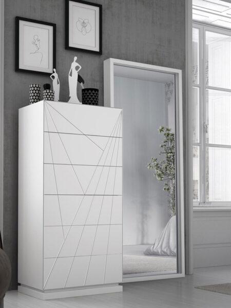 Detalle de cajonera de dormitorio de matrimonio 11a-0079 color blanco con detalle geométrico