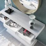 Cajones de recibidor con espejo 13c-0010 color blanco con dorado vista de detalle