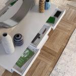 Cajones de recibidor con espejo 13c-0010 color blanco con plateado vista de detalle