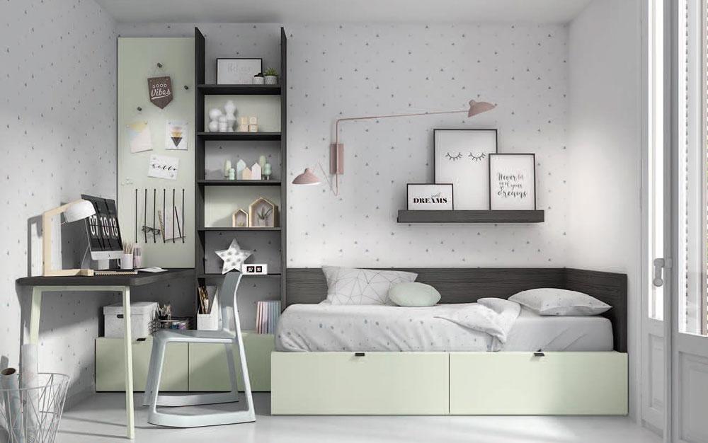 Dormitorio juvenil con cama bloc 12c-0003 color oregon y agua vista general frontal