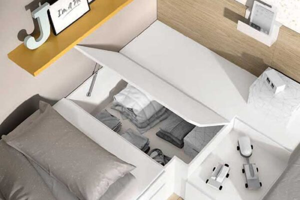 Cama bloc de dormitorio juvenil 12c-0004 color blanco curri y montana vista de detalle de cajón abierto