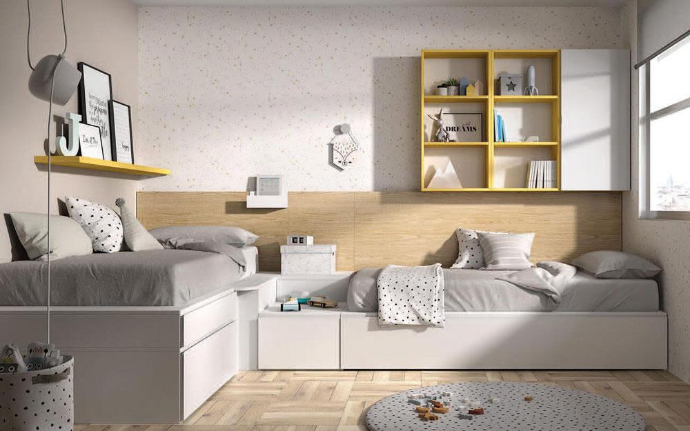 Dormitorio juvenil con cama bloc 12c-0004 color blanco curri y montana vista general frontal