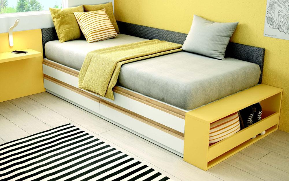 Dormitorio kids cama bloc 12c-0010 color blanco y mostaza vista detalle