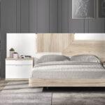 Cama de dormitorio de matrimonio 11a-0020 color blanco y madera vista frontal
