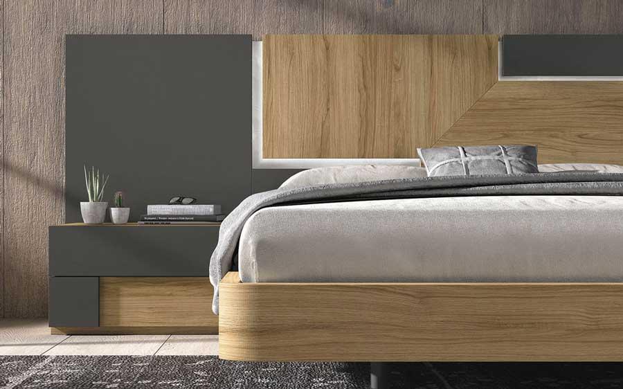 Cama de dormitorio 11a-0020 color gris y madera vista de detalle