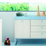 Mueble de dormitorio infantil 12a-0006 color azul y beige vista de detalle