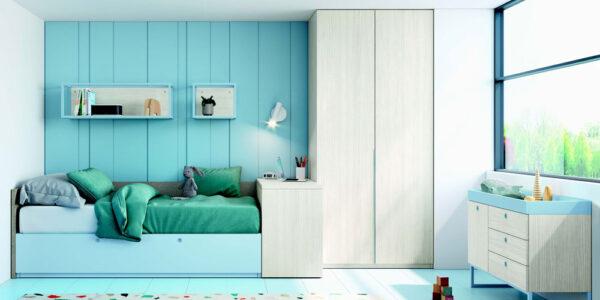 Cama nido de dormitorio infantil 12a-0006 color azul y beige vista general frontal
