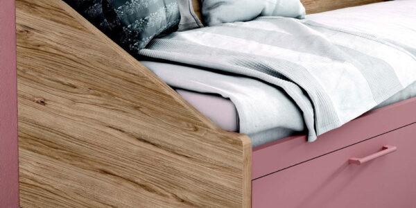 Cama nido de dormitorio infantil 12a-0007 color rosa y madera vista de detalle