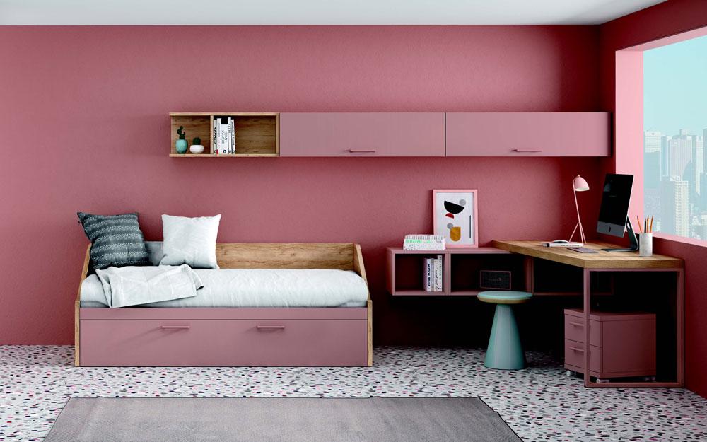 Cama nido de dormitorio infantil 12a-0007 color rosa y madera vista general frontal