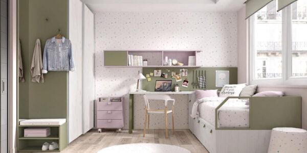 Cama nido de dormitorio infantil 12a-0005 color jade nevada y violana vista general