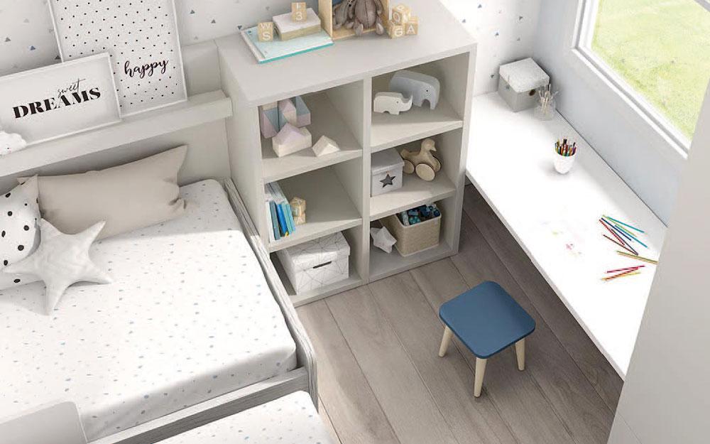 Cama nido de dormitorio infantil 12a-0003 color michigan y blanco vista de detalle top