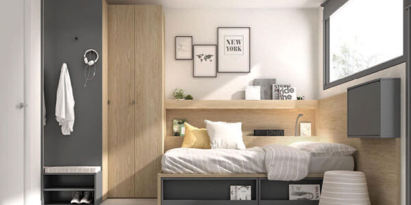 Cama nido de dormitorio infantil 12a-0004 color montana y pizarra vista de detalle frontal