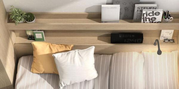 Cama nido de dormitorio infantil 12a-0004 color montana y pizarra vista de detalle top