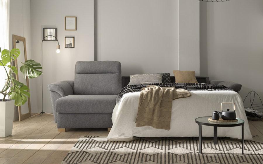 Sofá cama chaise longue 10e-0006 color gris vista detalle de cama