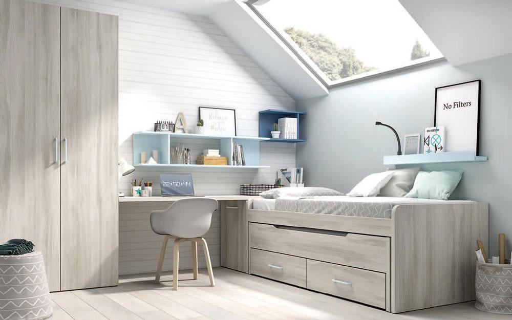 Bicama de dormitorio infantil 12b-0004 color arizona y celeste vista frontal