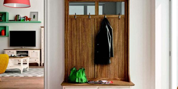 Colgador de recibidor 13c-0011 madera natural veteado y beige vista de detalle